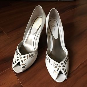 Linea Paolo White Open Toe Heels With Metal Studs